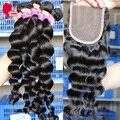 8А Монгольские Виргинские Волосы Свободная Волна Солнечный Queen Hair Product 3 Ближний Бесплатный Часть Lace Closure С Волосами Расслоения Бесплатную доставка