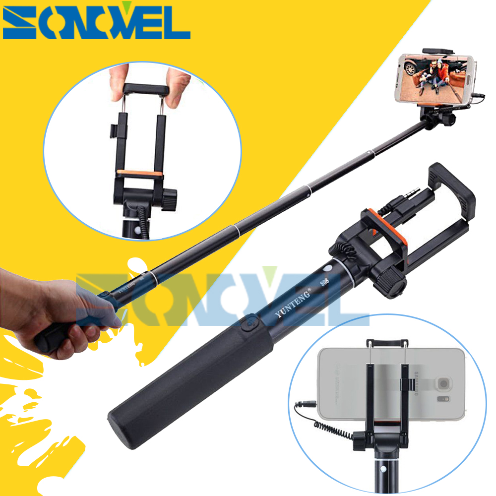 Yunteng 808 Wired Mini Extendable Selfie Stick Monopod Self-Timer Rotatable Pole For iPhone Samsung HTC Huawei Smartphone