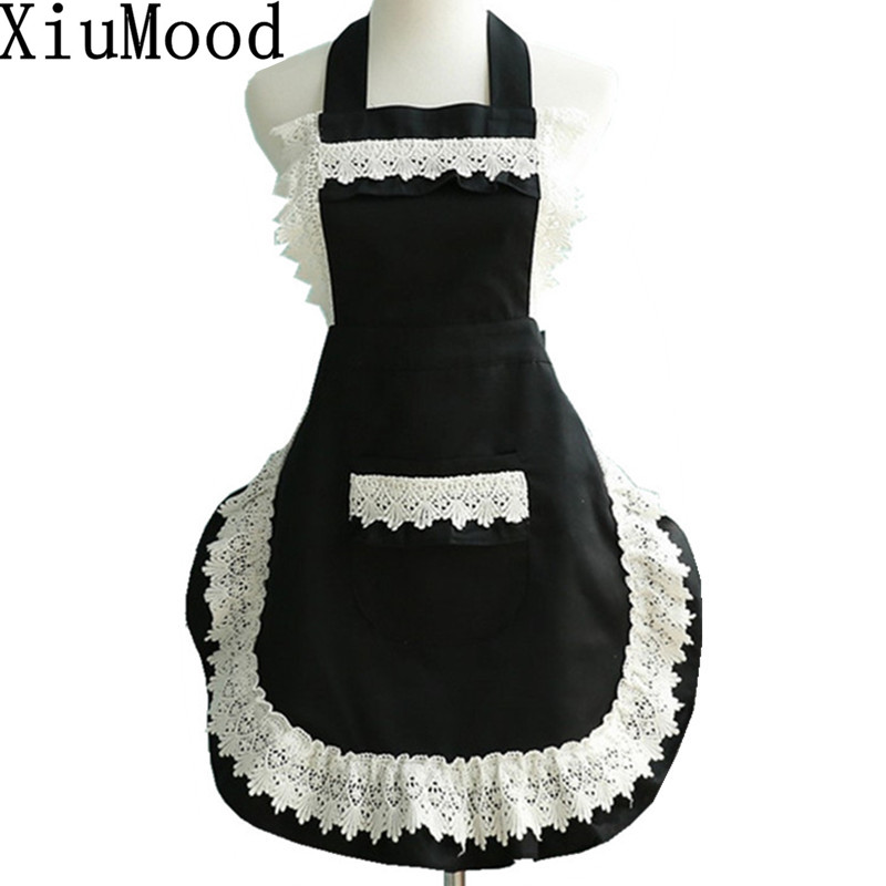XiuMood Fashion Cotton Lace Aprons For Women Kitchen Chef Cooking Apro Free Shipping ...