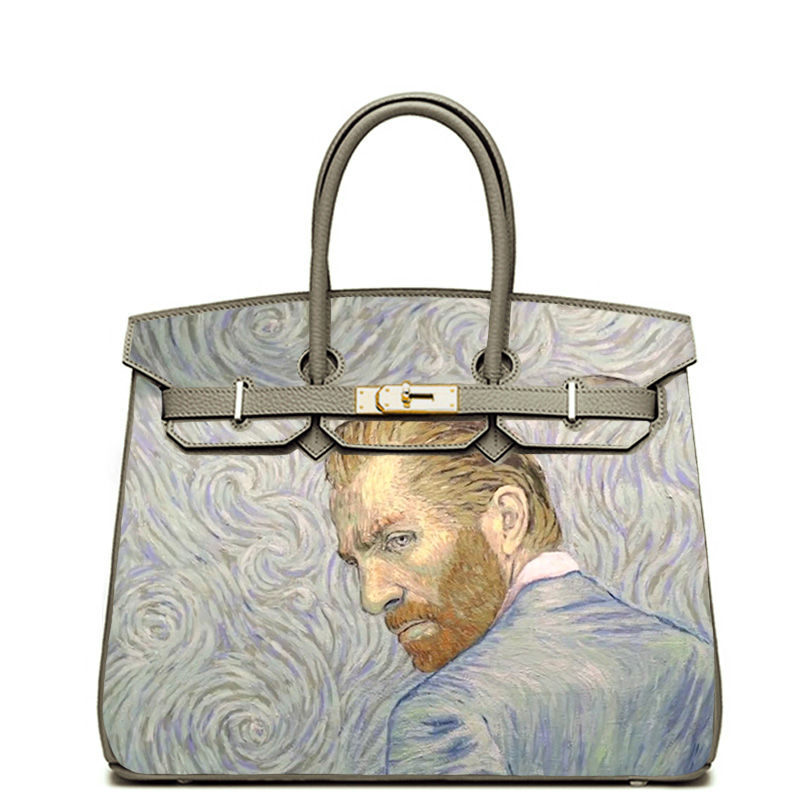 ART HAND DRAWING Vincent van Gogh Classic Handbags Totes Women Bags Crossbody Genuine Leather Wholesale Customize #BLV081118A hand painted famous oil painting the bedroom at arles c 1887 of vincent van gogh multicolored