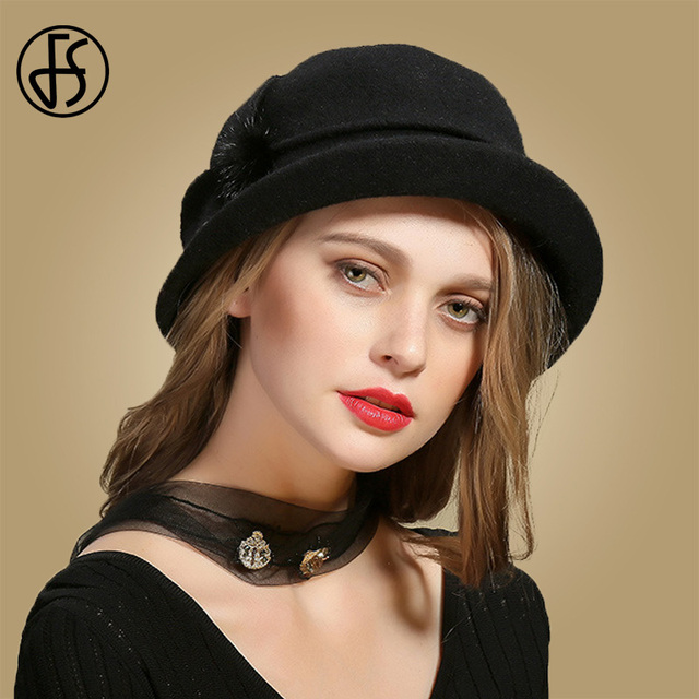 3b74b816dce04b ... FS Winter Black Wool Hats For Womens Wide Brim Fedora Vintage Felt Hats  With Flower Fur ...