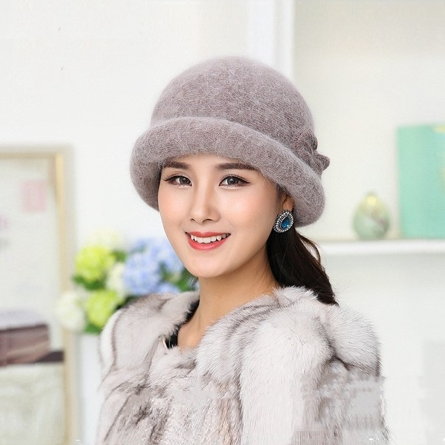 New Winter Hat Sets For Women Warm Knitted Floral Skullies Solid Color Wool Mixed Rabbit Fur Beanies Baggy Headwear Cap