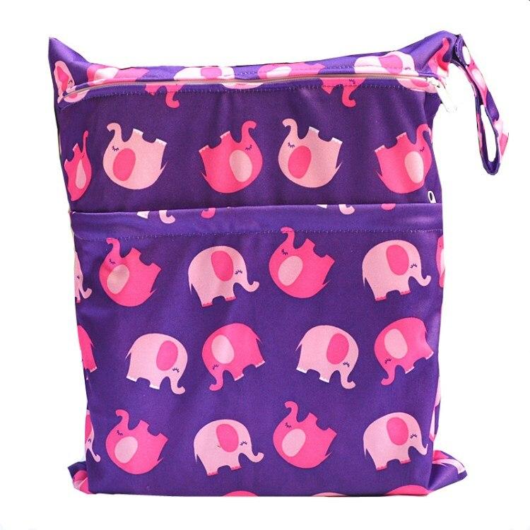 [Sigzagor] 1 Влажная сухая сумка с двумя молниями для детских подгузников, водонепроницаемая сумка для подгузников, розничная и, 36 см x 29 см, на выбор 1000 - Цвет: W60 purple elephant