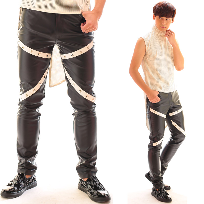 Fashion Personality Nightclub Male singer DJ Rivet  black leather pants Performance wea trousers costume