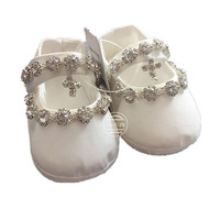 BBWOWLIN Christening Baptism Newborn Baby Girl Shoes First Walkers Church Soft Sole Shoes Cross Baptism Choes 120