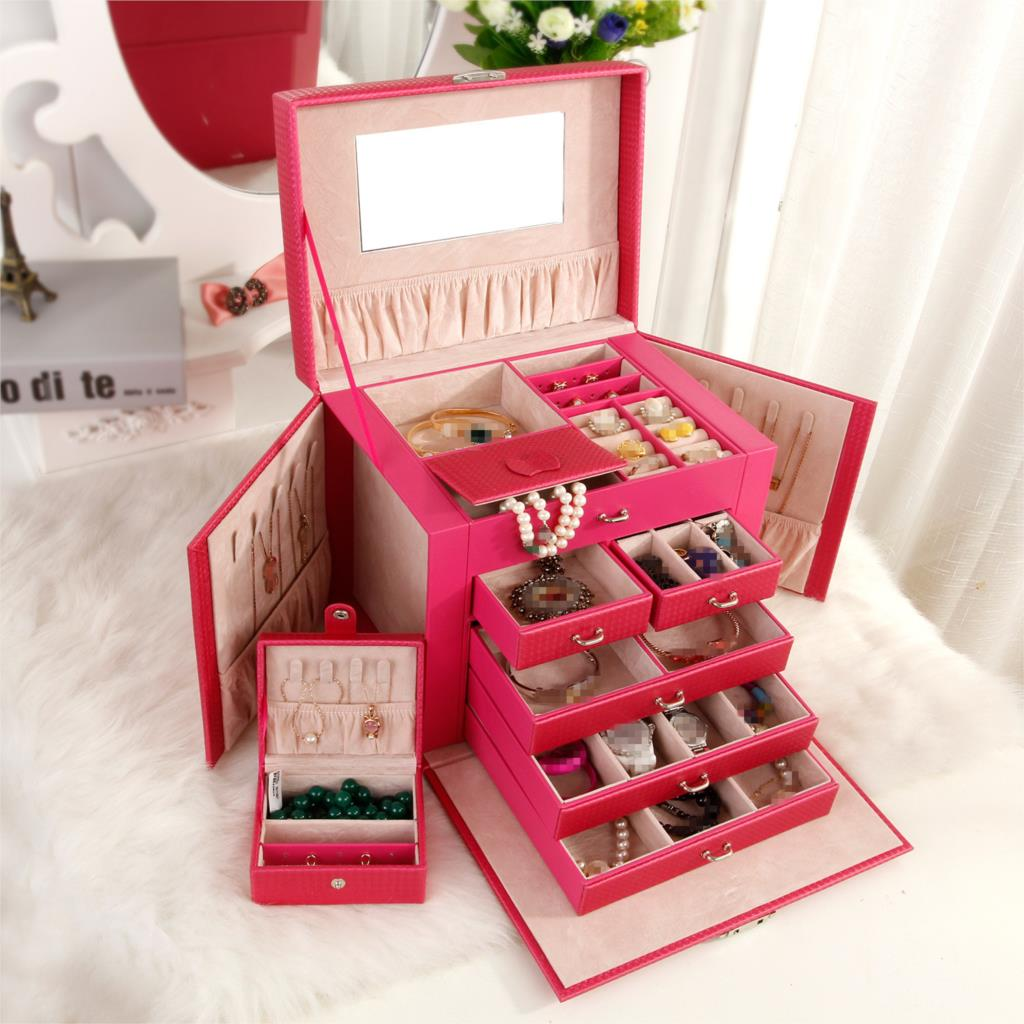 Guanya enfría gran caja de joyería caja de reloj perlas pendiente del anillo de la joyería armario de almacenamiento caso negro blanco rosa cuero baratija organizador - 3
