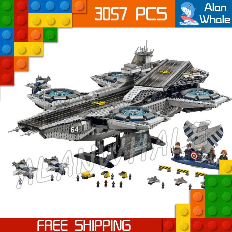 3057pcs 07043 The SHIELD Helicarrier Set Captain America Winter Soldier Building Blocks Bricks Compatible with Lego