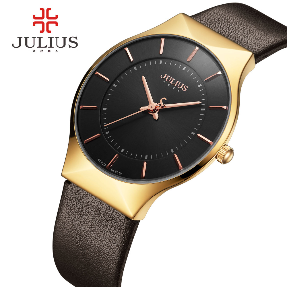 JULIUS Mens Watches Top Brand Luxury Gold Quartz Watch Clock Men Leather Business Wrist Watch Male Military Sport Relogio Montre oubaoer fashion top brand luxury men s watches men casual military business clock male clocks sport mechanical wrist watch men