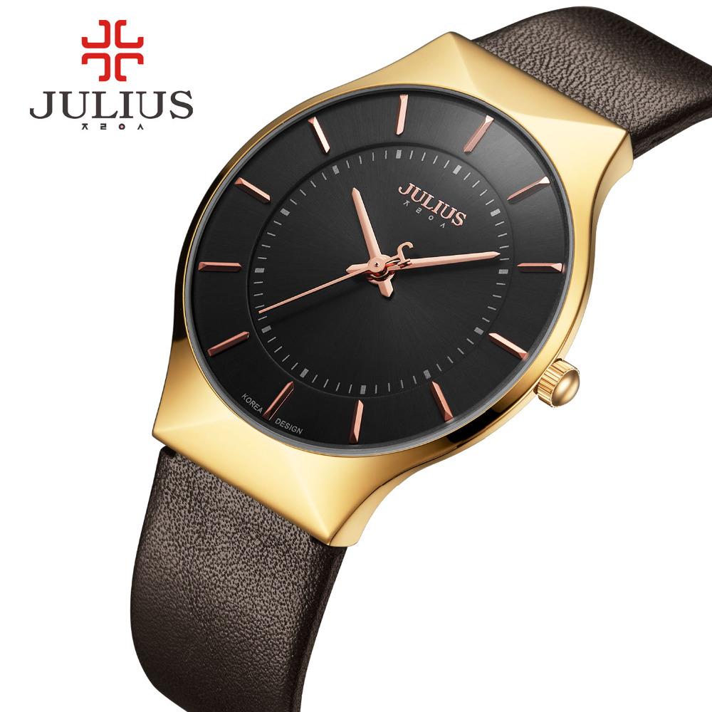 Prix pour Julius hommes montres top marque de luxe or montre à quartz horloge hommes en cuir d'affaires montre-bracelet mâle militaire sport relogio montre