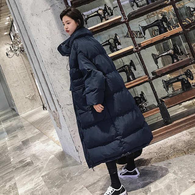 Down Cotton Women Winter Jacket BF Style Stand Collar Long Parka Women Winter Coat Plus Size Oversized Coats Female Jacket C5114 4