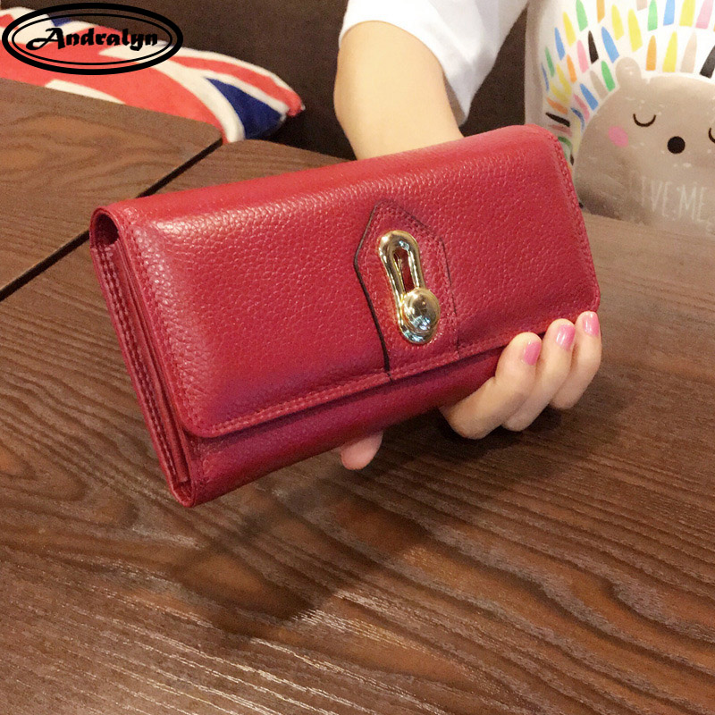 Andralyn 2018 New Women S Purses Ladies Genuine Leather Fashion Personality Handbag Long Clutch Mobile Phone