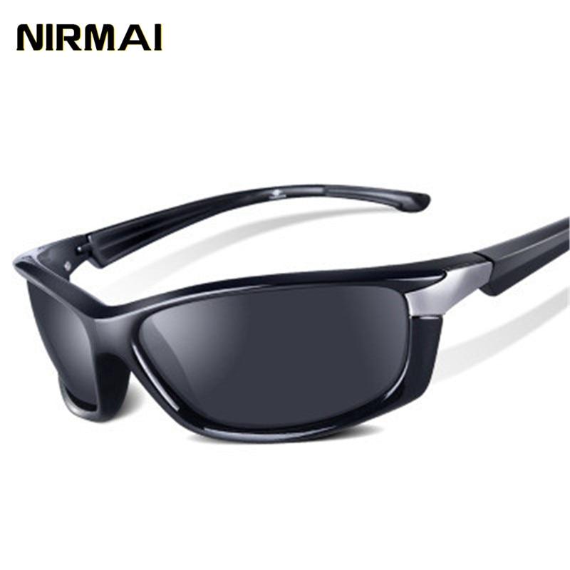 NIRMAI sports sunglasses polarized designer sport brand mens black frame glasses UV400