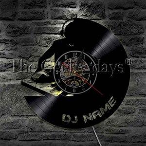 Image 2 - 1 adet DJ kişiselleştirilmiş özel ad vinil kayıt duvar saati Modern lamba duvar saati LED gece lambası Rock N rulo DJ hediye