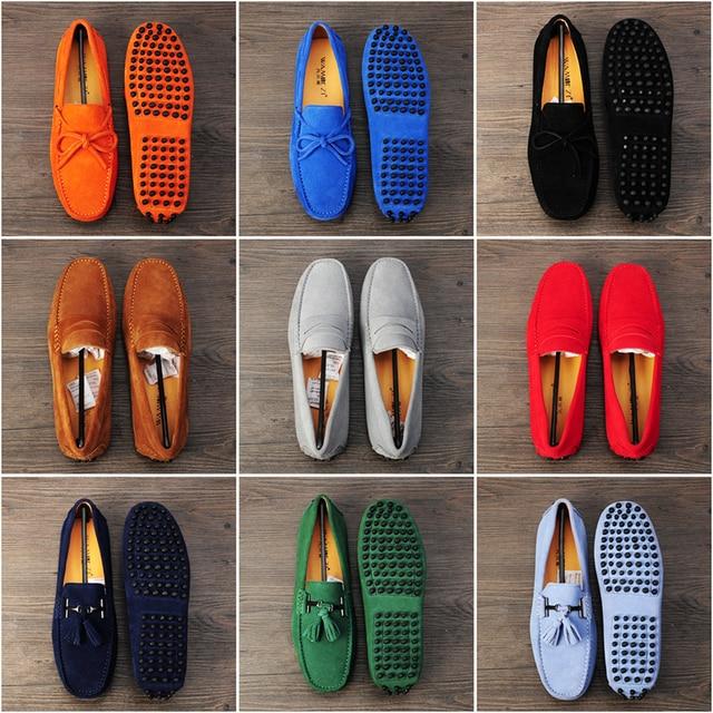 Caliente Los Hombres de Cuero Genuino Zapatos de Cuero Nobuck Hombres Zapatos Casuales Para Hombre Mocasines Moda Más Tamaño Otoño Shoes10 Colores Tamaño 38-45