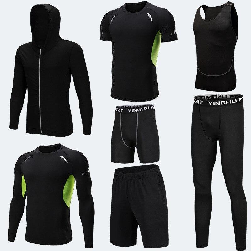 Vêtements d'entraînement en cours d'exécution hommes 7 pièces/ensembles ensembles de course à Compression collants de Jogging de basket-ball ensemble de sous-vêtements - 2