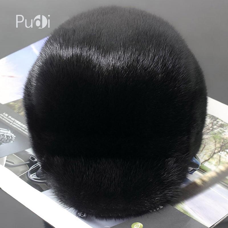 Pudi 170762男性ミンクの毛皮の帽子男性の本物のミンクの毛皮キャップ冬暖かいトップハット帽子ビーニー帽子ベレーキャスケットキャップキャップ  グループ上の アパレル アクセサリー からの ボンバーハット の中 3