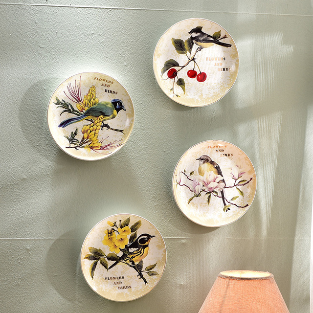 Modern Bird Flower Decorative Wall Dishes Porcelain Plates Vintage Home Decor Crafts Room Decoration Figurine
