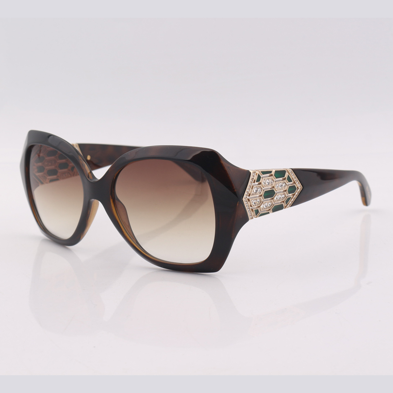 High quality Brown frame gradient lens fashion sunglasses women with crystal on leg
