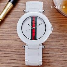 Casual mujeres del reloj de cerámica súper delgado famosa marca reloj de pulsera de cuarzo para las mujeres