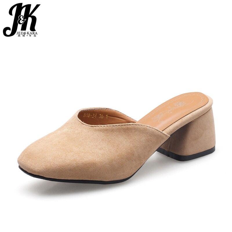 JK Big Size Summer Slippers Women Outside Square Toe Med Heels Flock Hoof Heels Slides Footwear 2018 Fashion Ladies Mules Shoes