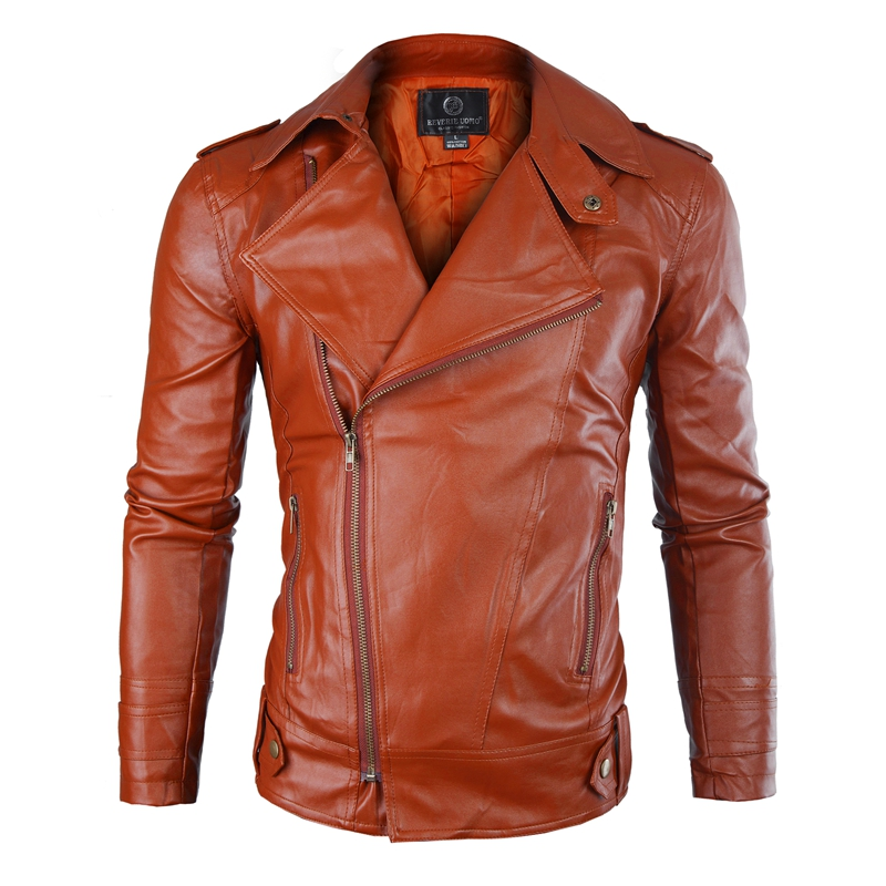New Men's PU Leather Jacket Men's Fitness Fashion Personality Diagonal Zipper Jacket Casaco Masculino Casual Jacket Men Clothing
