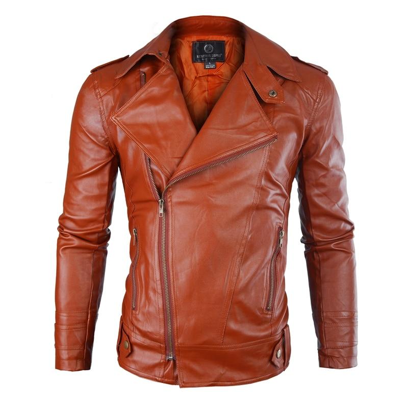 New Men's PU Leather Jacket Men's Fitness Fashion Personality Diagonal Zipper Jacket Casaco Masculino Casual Jacket Men Clothing