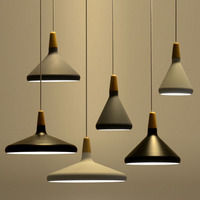 Nordic minimalist pendant lights E27 Aluminum wood pendant lamp Home restaurant counter decoration lighting