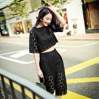 2016 Spring And Summer New Fashion Openwork Lace Top Seven Wide Leg Pants Piece Fitted Woman