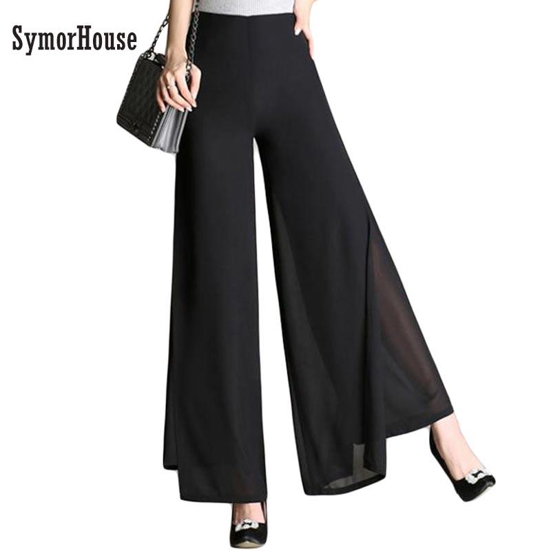 2019 New Fashion Women's autumn Thin Chiffon   Pants   Female   Wide     Leg     Pants   High Waist Casual Dance   Pants   Trousers Plus Size S-4XL