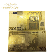 10pcs/lot High Quality Colored Euro Banknote 200 EUR Banknotes In Gold Plated Fake Money for Home Decoration
