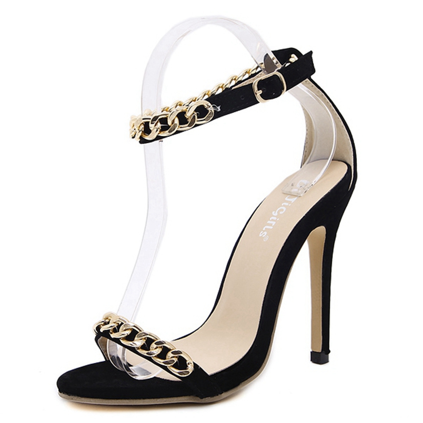 Women Fashion Chain Ankle Strap Sandals Sexy High Heels Summer Black Party Shoes Woman Stiletto Pumps ZGa6-63 big size 32 43 fashion party shoes woman sexy high heels platform summer pumps ankle strap sandals women shoes