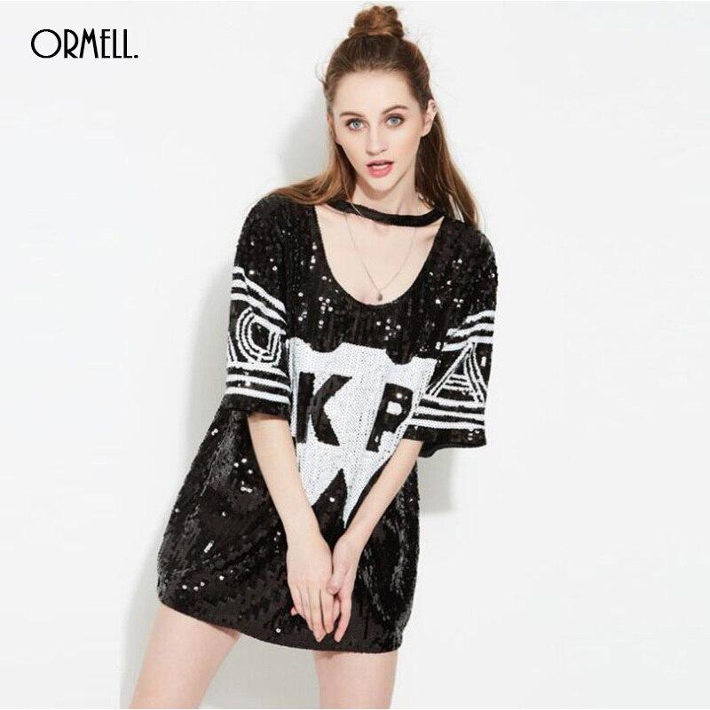 ORMELL été mode pailleté lettre filles T-shirt 2017 nouveau licou BF Punk Style fête O cou demi manches femmes T Shirt hauts