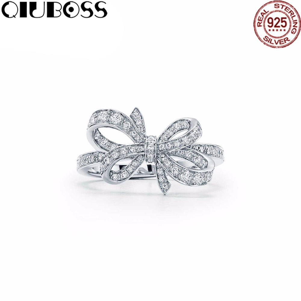 QIUBOSS TIFF 925 Sterling Silver Wedding Party Ring Charm With Cubic Zirconia Bowknot Shape Ring Charm Gift sweet rhinestone openwork bowknot shape ring for women