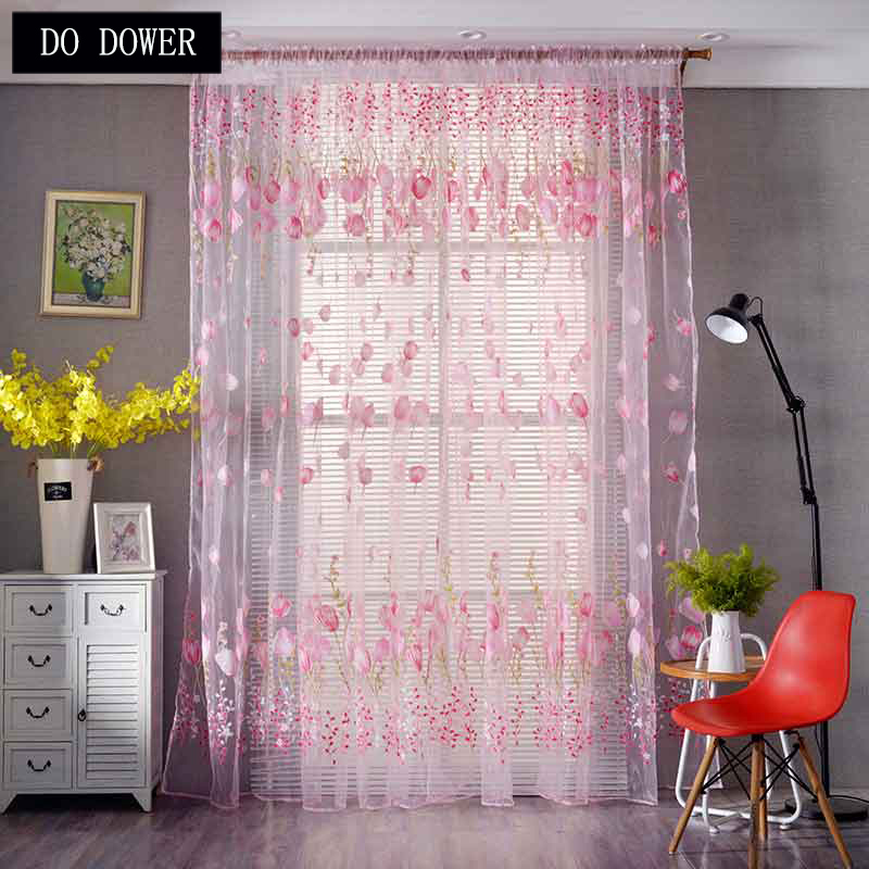 1M*2M Transparent Window Curtains Sheer Voile Tulle Fabric for Bedroom Living Room Balcony Kitchen Modern Home Decoration 3Color