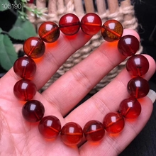 Certificate 12.6mm Natural Blood Amber Bracelet Women Party Gift Stretch Crystal Fitness Round Beads Jewelry
