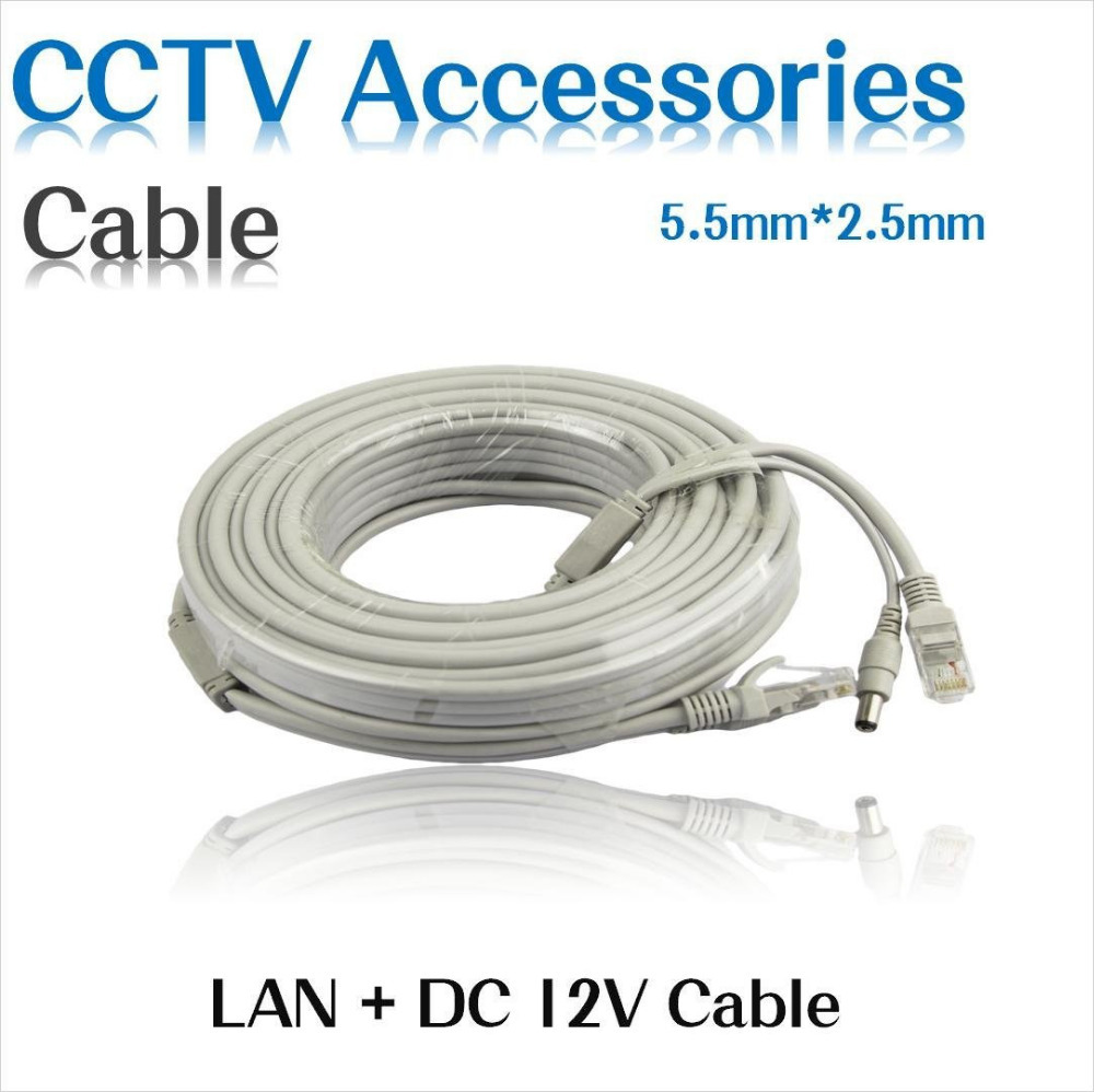 10M/33FT CCTV Network Cable RJ45 CAT5/CAT-5e Cable + DC Power Extension CCTV network Ethernet Cable For IP Camera NVR System