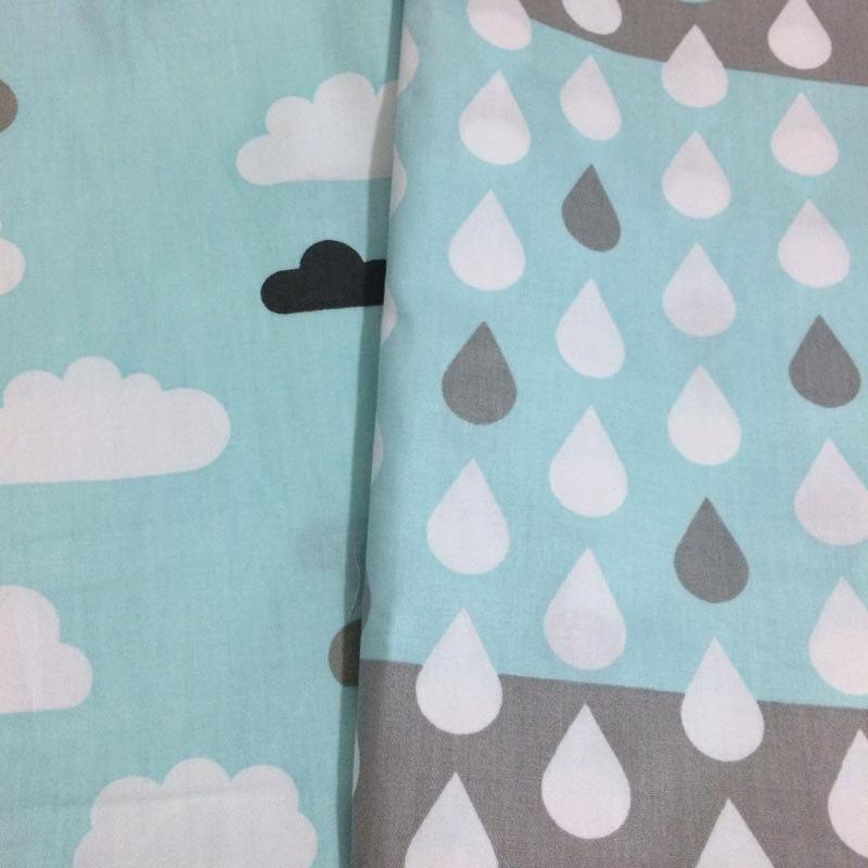 100% sarga de algodón viento nórdico fresco azul nubes gota de tela - Artes, artesanía y costura