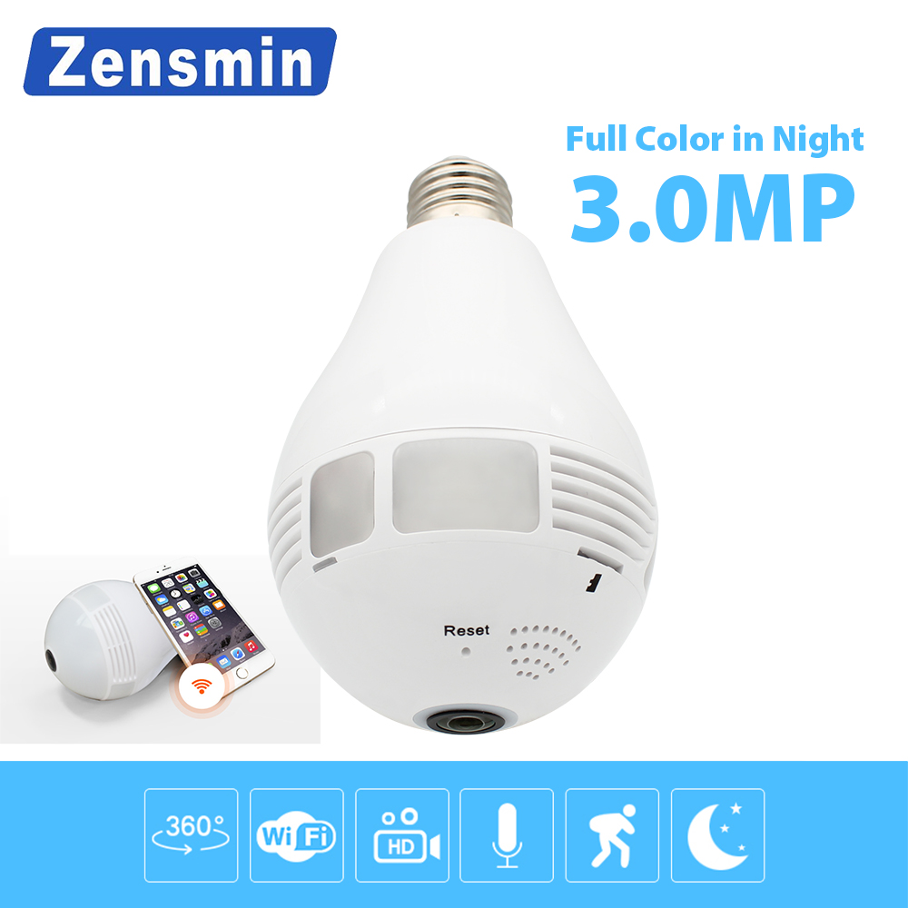 Zensmin Bulb Light Wireless IP Camera Wi-fi FishEye 960P/3MP 360 degree VR CCTV Camera 1.3MP Home Security WiFi Camera Panoramic купить в Москве 2019