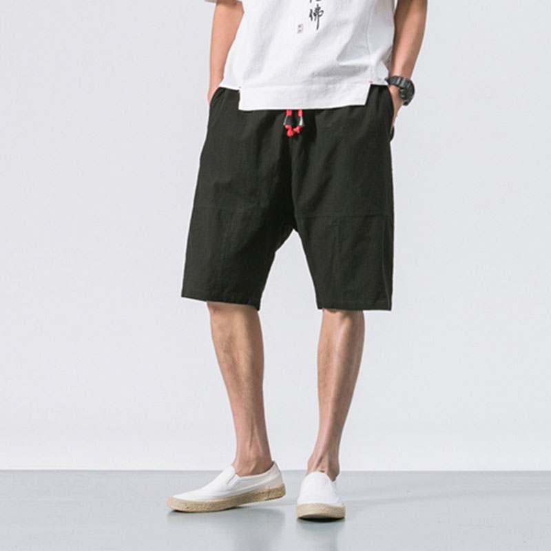 MRDONOO 2018 Summer Chinese style Men Loose Linen   Shorts   Knee Length   Short   Trousers Male Bermuda Casual Board   Shorts   B375-K64