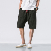 MRDONOO 2018 Summer Chinese style Men Loose Linen Shorts Knee Length Short Trousers Male Bermuda Casual Board Shorts B375 K64