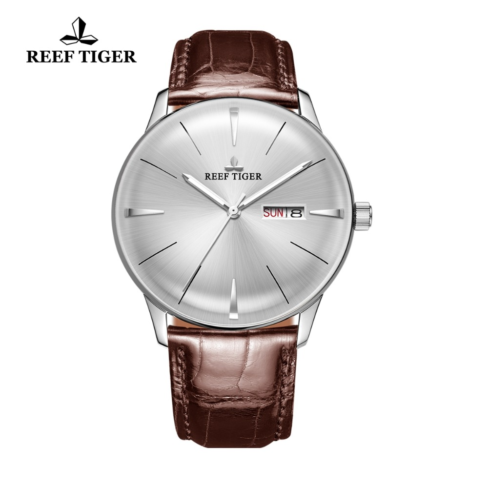 Reef Tiger/RT Classic Casual Watch for Men Genuine Leather Strap Steel Automatic Watches Date Day Relogio Masculino Gift RGA8238Reef Tiger/RT Classic Casual Watch for Men Genuine Leather Strap Steel Automatic Watches Date Day Relogio Masculino Gift RGA8238