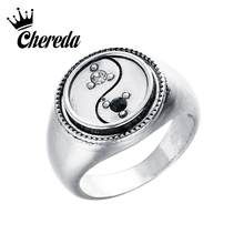 Chereda Gothic Men's Ring Biker Viking Rings for Male Vintage Zircon Ring Tai Chi Shape bague homme Titanium steel drop ship(China)