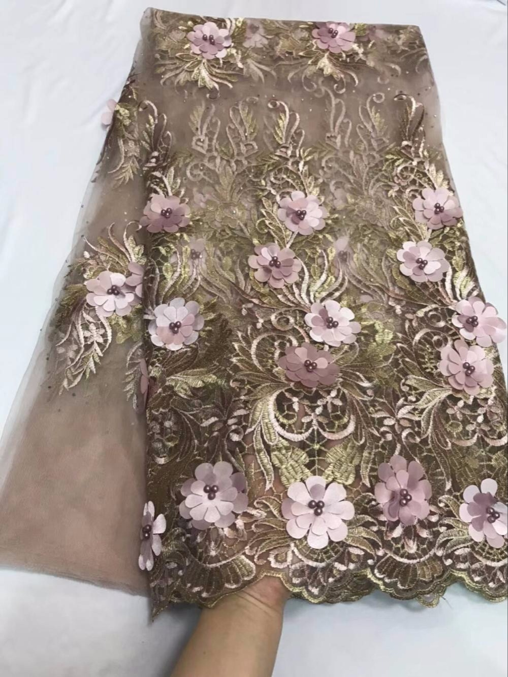 French Net Fabric With Beads 3D Flower Embroidered French Tulle Lace African French Lace Fabric High Quality For Bridal Dress 30