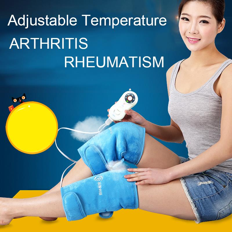 Health Care 1 Pair Electric Heating Knee Pads Far Infrared Magnetic Therapy Arthritis Rheumatism 220V 30W Adjustable Temperature