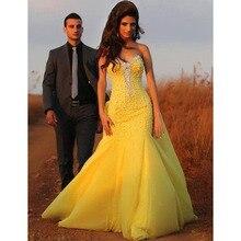 Reizvolle Backless Gelb Abendkleider mit Kristallen Perlen Elegante Schatz Prom Party Kleider Robe Mermaid Lange Abendkleider