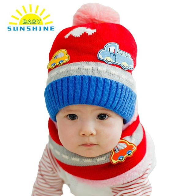 Newborn Cute Ball Pompom Winter Baby Hat Kids Girl Boy Car Pattern Fleece  Knitted Caps Gorro Infantil Photography Accessories 2a6889c1828aa