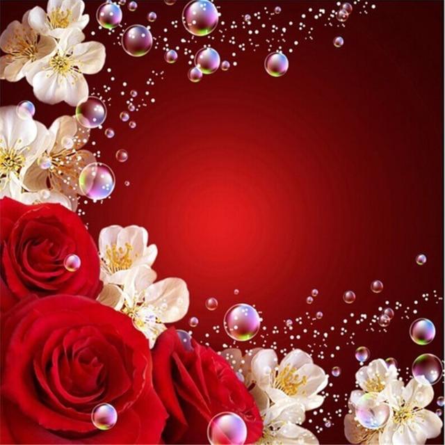 Beibehang Quente Rosas Vermelhas Casamento Fundo Tv 3d Papel De