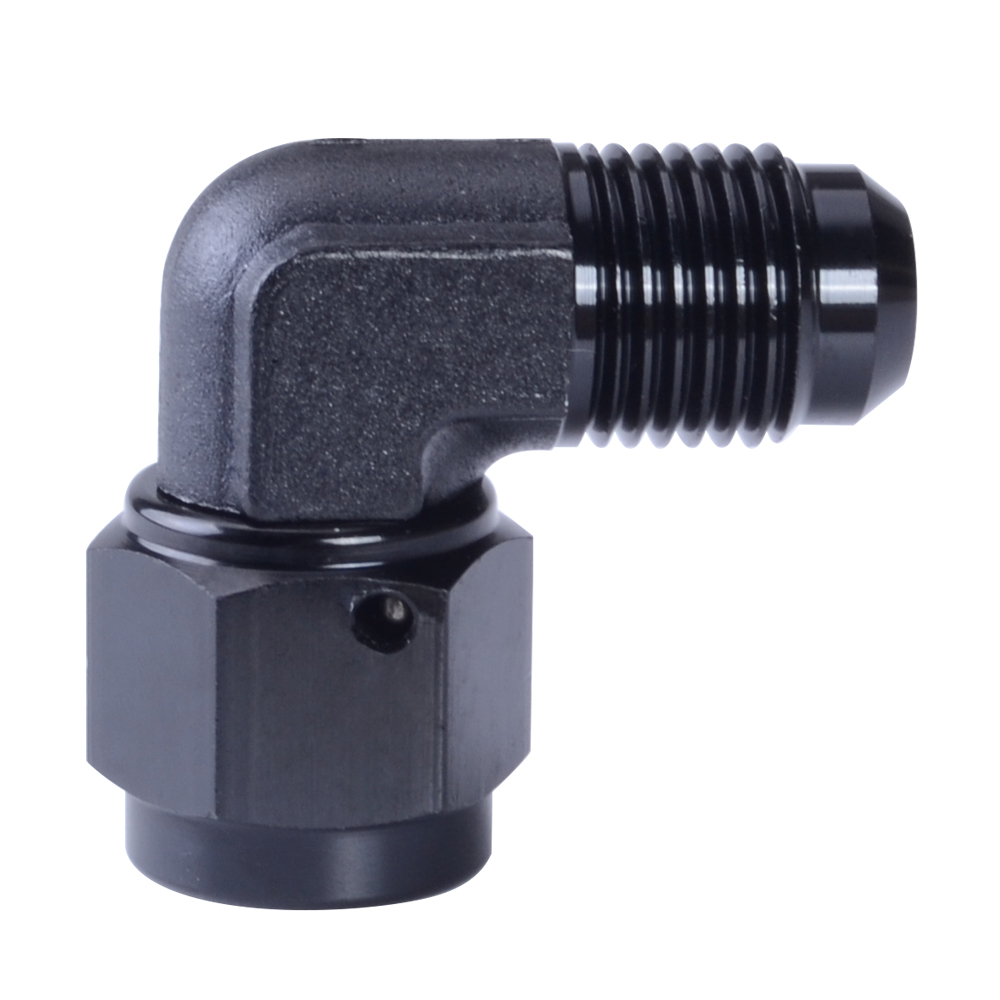 AN8-8AN To AN-8 90 Degree Flare Union Fuel Fitting Adapter Male Black