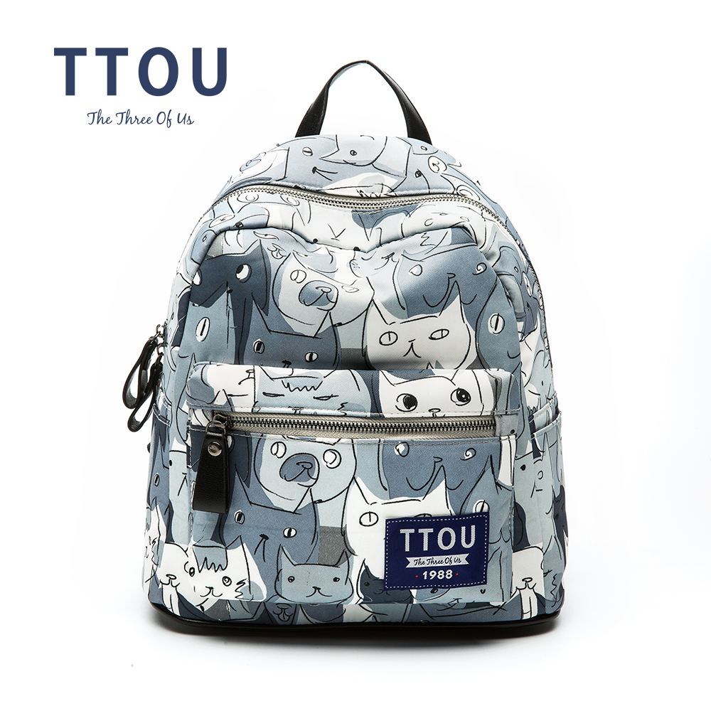 TTOU Women Canvans Backpack For Teenage Girls School Bags Rucksack Back Pack Canvas Cute Cat Printing  Backpack Travel Bag люстра подвесная colosseo mario 80919 3a