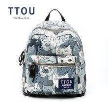 Ttou женщин canvans рюкзак для девочек-подростков школьные сумки рюкзак back pack холст cute cat печати рюкзак дорожная сумка
